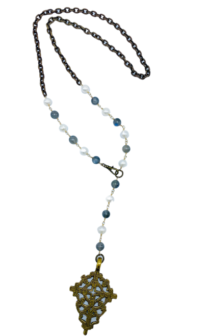 Brass and Labradorite and Pearl Necklace with Tibetan Cross