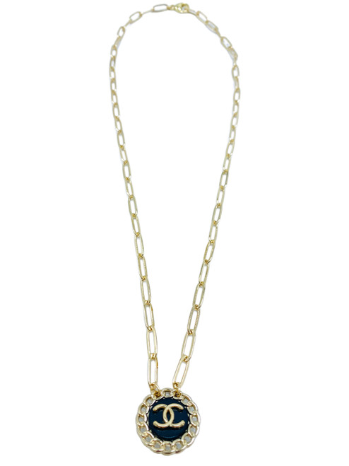 Black and Gold Vintage Chanel Button Necklace