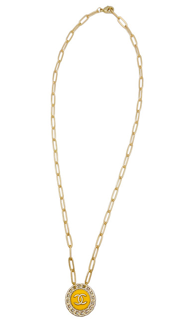 Yellow and Gold Vintage Chanel Button Necklace