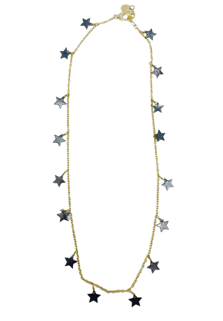 Black Dangle Stars and Gold Necklace