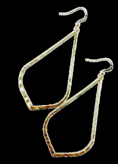Large Elongated Gold Teardrop Earring