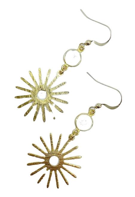 Gold Starburst and White Druzy Earring