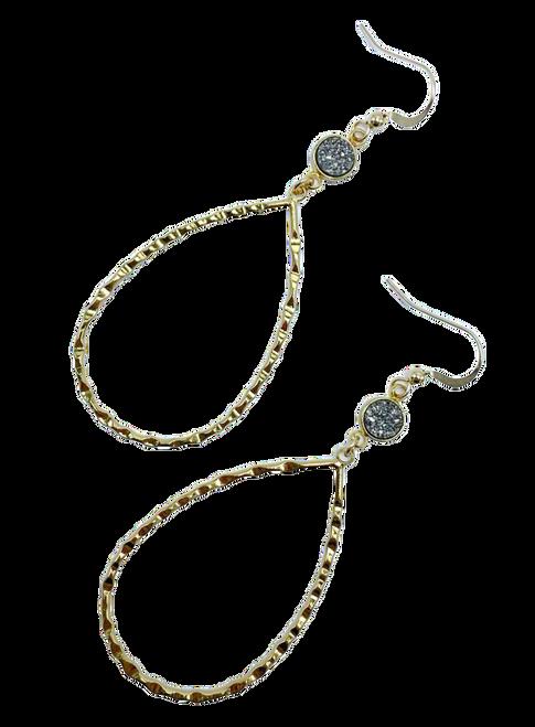 Gold Teardrop with Grey Druzy Earring