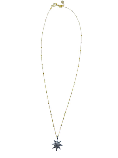 Short Vermeil and Sterling Necklace with Diamond Starburst