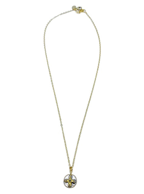 Gold Necklace with Gold and Silver Diamond Cross