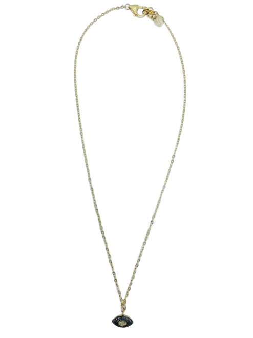Short Gold Chain with Diamond Eye of Protection