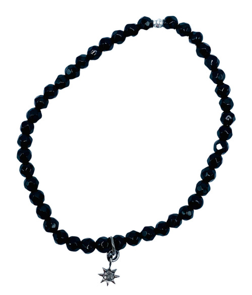 Black Onyx and Diamond Starburst Stretch Bracelet