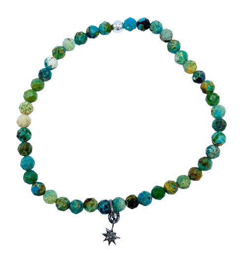 Turquoise and Diamond Starburst Stretch Bracelet