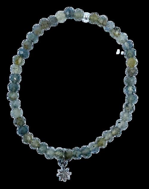 Labradorite and Diamond Starburst Charm