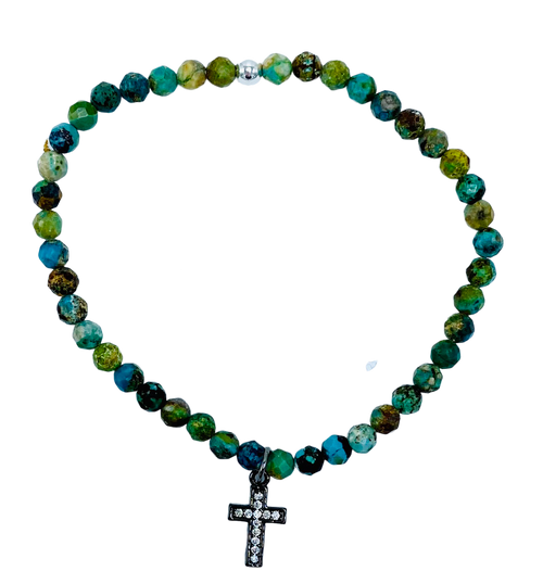 Turquoise and CZ Cross Charm Stretch Bracelet