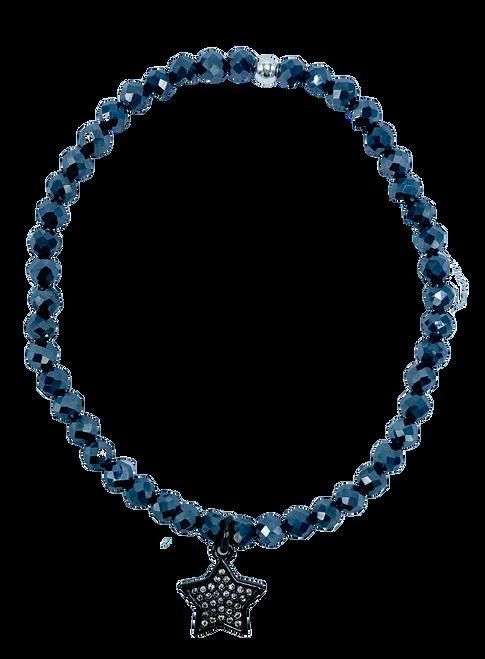 Hematite and CZ Star Stretch Bracelet