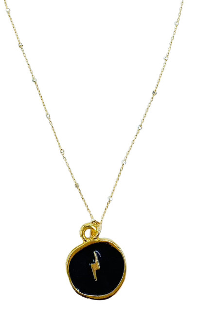 Silver and Gold Necklace with Black Enamel Pendant of Lightning Bolt