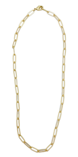 Short Matte Gold Paperclip Necklace