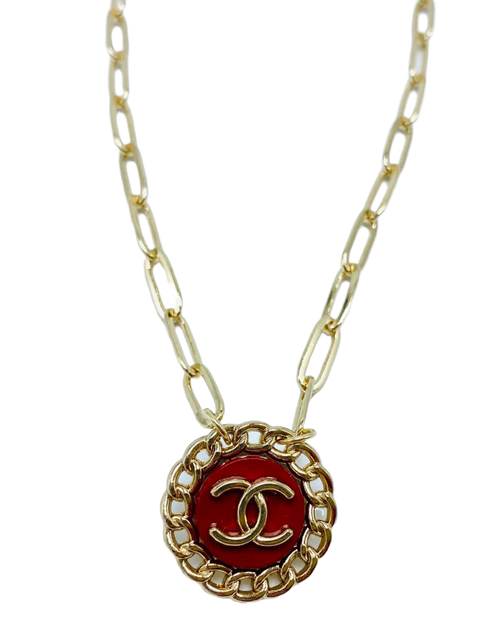 Vintage Red Chanel Gold Necklace