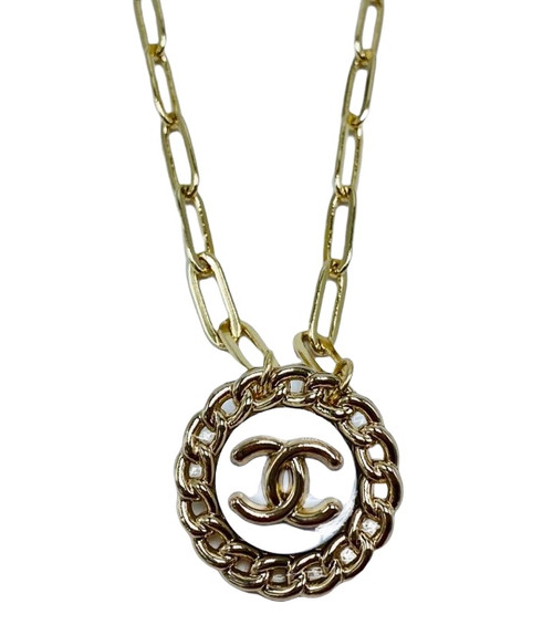 Short Gold Paperclip Chain Necklace with Vintage White Chanel Button