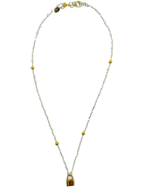 Moonstone and Gold Chain with Vermeil Lock Necklace