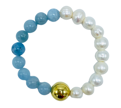 Aquamarine and Gold Vintage Chanel Bead Stretch Bracelet