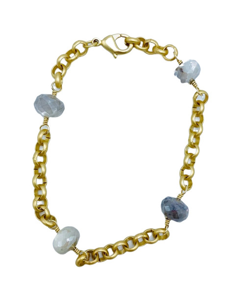 Chain and Moonstone Bracelet