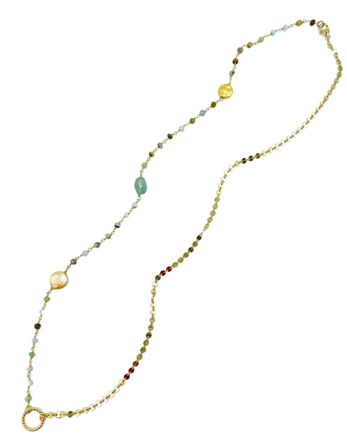 Long Amazonite and Gold Necklace