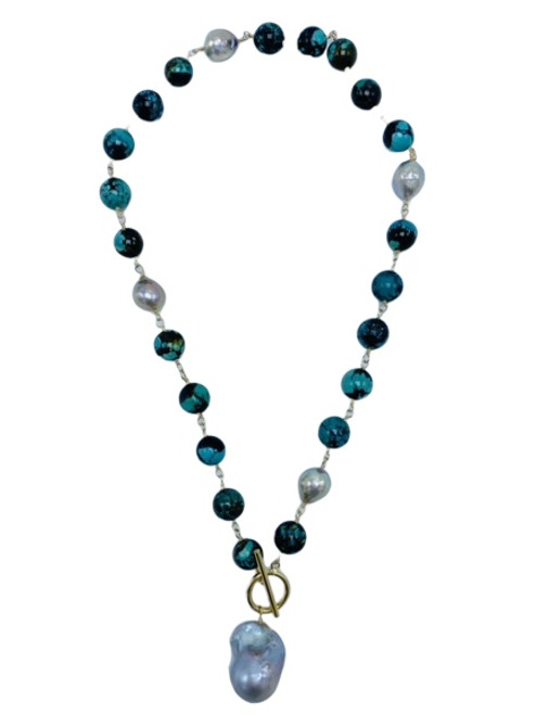 Turquoise and Grey Baroque Pearl Necklace