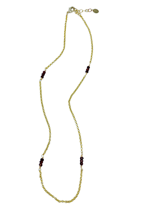 Red Garnet and Gold Short Necklace
