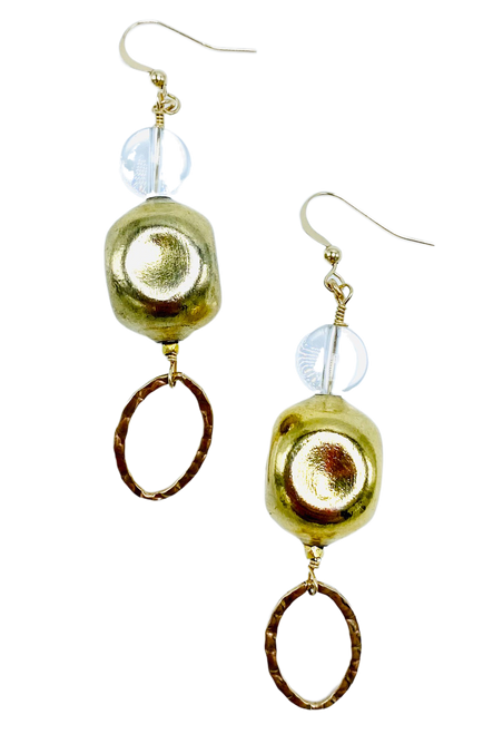 Clear Quartz and Chanel Bead Loop Earrings