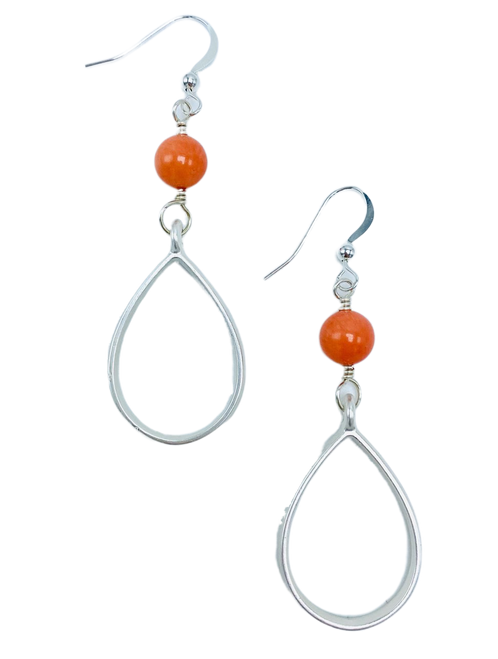 Peach Aventurine and Silver Teardrop Earrings