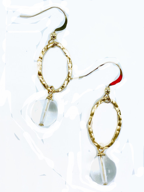 Clear Quartz and Gold Loop Earrings