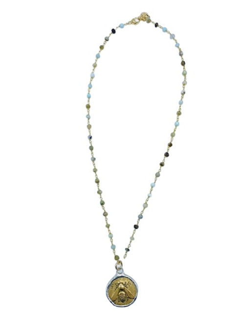 Amazonite and Gold and Silver Bee Pendant Necklace