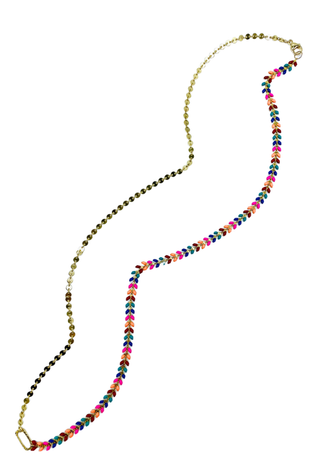 Muti color Enamel and Gold Disc Chain Long Necklace