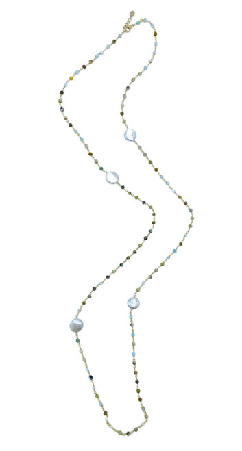 Amazonite and White Coin Pearl Long Necklace