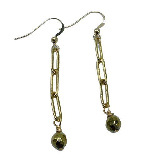 Gold Paperclip and Hematite Earrings
