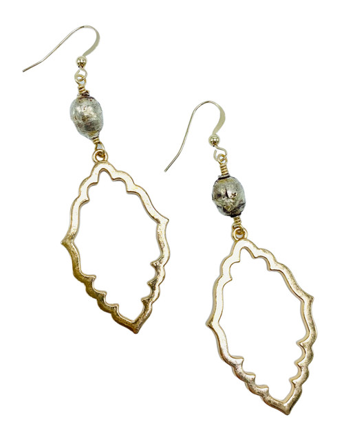 Gold Scalloped Drops with Silver African Prayer Beads Earrings