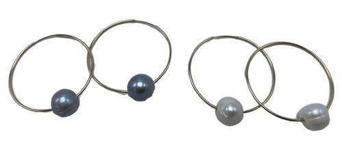 Gold Filled Hoops with Freshwater Pearls