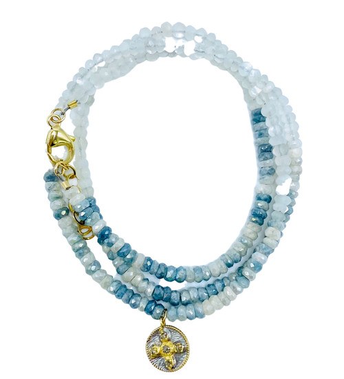 Triple Wrap Moonstone and Sapphire  with Diamond Charm