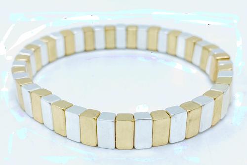 Silver and Gold Metal Tile Bracelet