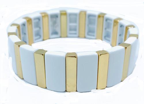 Large White and Gold Tile Metal Bracelet