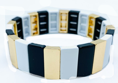 White and Black and Gold Metal Tile Bracelets