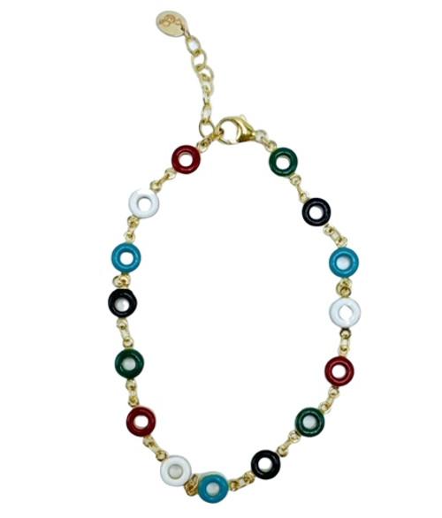 Multi colored Enamel Circle Chain Ankle Bracelet