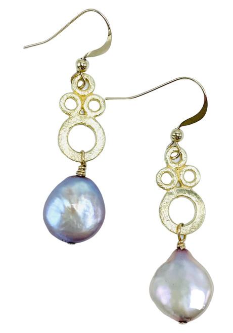 Champagne Pearl on Gold Swirl Earrings