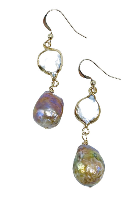 Gold Encased White Pearl and Natural Baroque Pearl Earrings