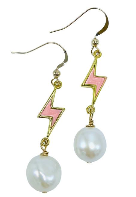 Pink Enamel Lightening Bolt and White Freshwater Pearl Earrings