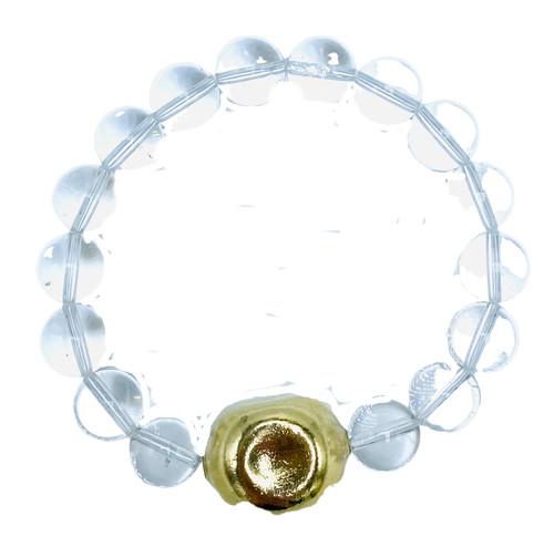 Clear Quartz and Vintage Chanel Stretch Bracelet