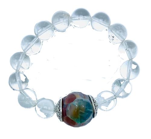 Clear Quartz and Fire Agate Stretch Bracelet