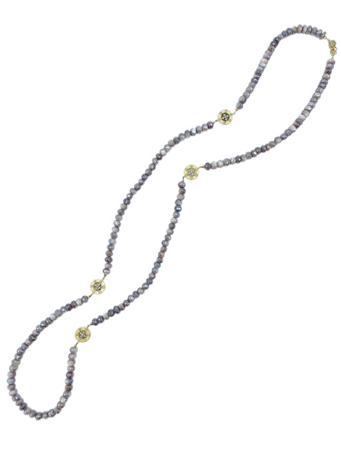 Coated Moonstone and CZ Disc Long Necklace