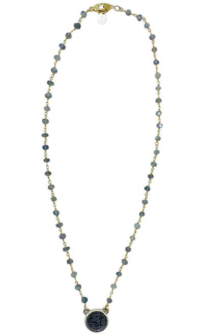 Labradorite and Coin Short Necklace