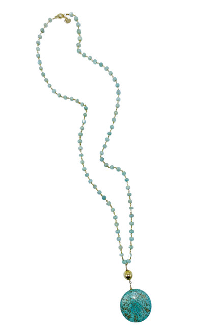 Amazonite and Turquoise Long Necklace