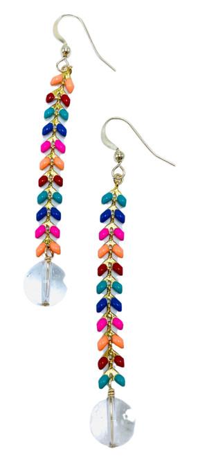 Enamel and Clear Quartz Earrings