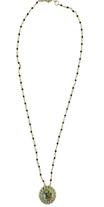 Repurposed Vintage LV  and Black Spinel Short Necklace