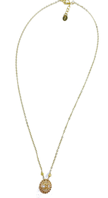 Delicate Repurposed Pearl and Gold Chanel Button on Gold Filled Chain